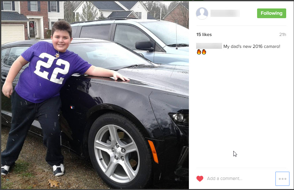 "My son bragged on Instagram about his Dad's ""New car."""